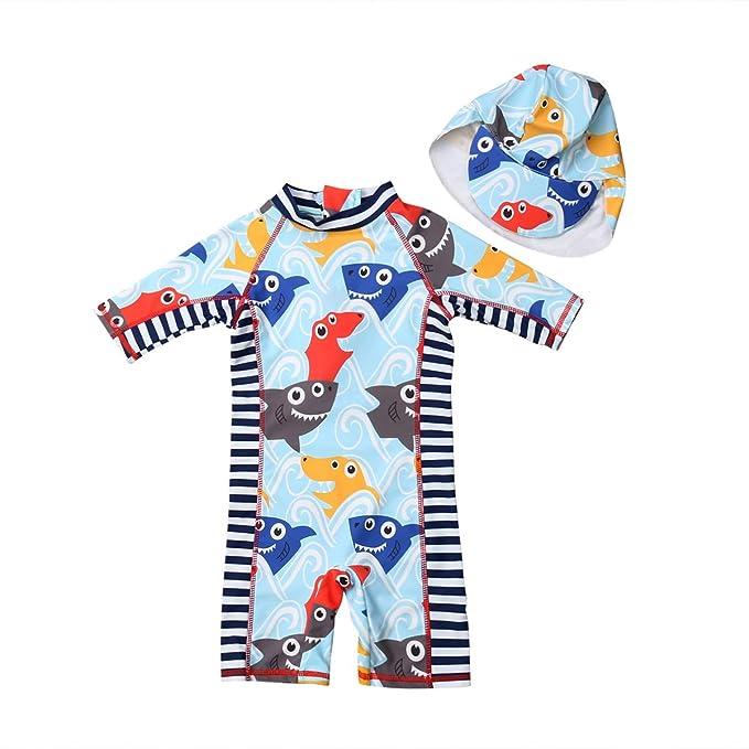 Amazon.com: Bañador de tiburón para bebés y niñas, protector ...