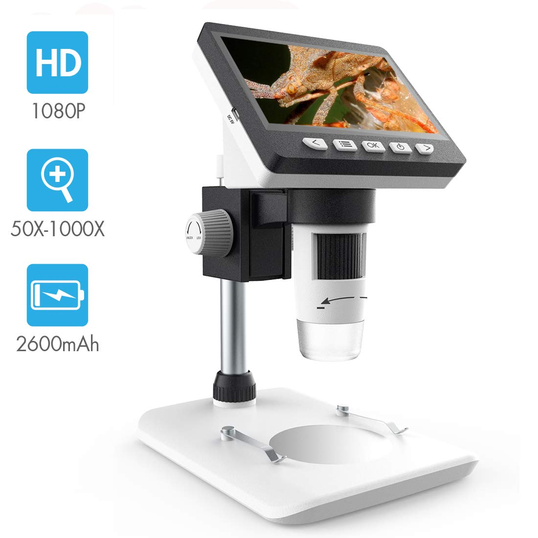 LCD Digital Microscope, SKYBASIC 4.3 inch 50X-1000X Magnification Zoom HD 1080P 2 Megapixels Compound Microscope 8 LED Adjustable LED Light Video Microscope by SKYBASIC (Image #1)