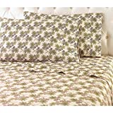 OSK 3 Piece Girls Beige Brown Pinecone Sheet Twin Set, Light Green Color Pine Fruit Pine Nut Pine Tree Pattern Kids Bedding for Bedroom, Modern Classic Nature Forest Themed Teen, Flannel