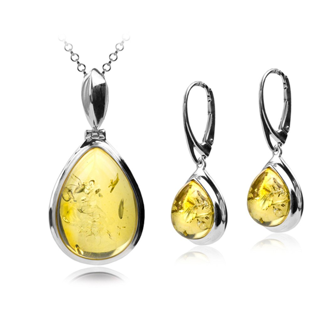 Sterling Silver Lemon Amber Ambrosial Drop Set Earrings Pendant Chain 18 Inches
