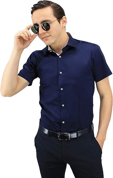 Meadrine Camisa para Hombre Azul Marino y Flores: Amazon.es: Ropa y accesorios