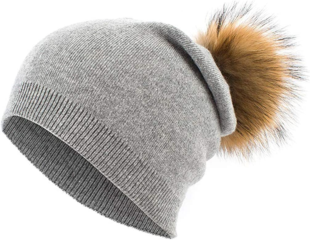 Womens Cashmere Beanies Hat Winter Knitted Wool Beanie for Women Racoon Fur Pompom Caps Ladies Real Fur Pom Pom Hats