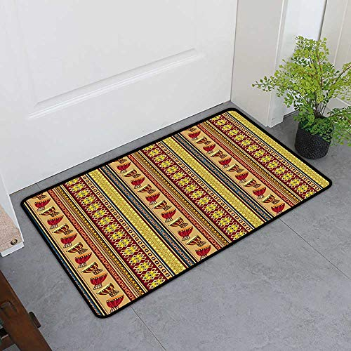 All-Natural Rubber Doormats, African Doormats for High Traffic Areas, Oriental Djembe Drums Music Culture in Africa Theme Geometric Chevrons Triangles (Multicolor, H16 x W24) ()