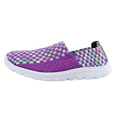 Beladla Zapatillas Deportivas De Mujer TamañO Grande Moda Zapatos Transpirables Tejidos para Correr Casuales Color Coincidente Zapatillas De Deporte ...
