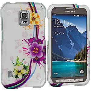 Accessory Planet(TM) Purple Flower Chain 2D Hard Snap-On Design Rubberized Case Cover Accessory for Samsung Galaxy S5 Active