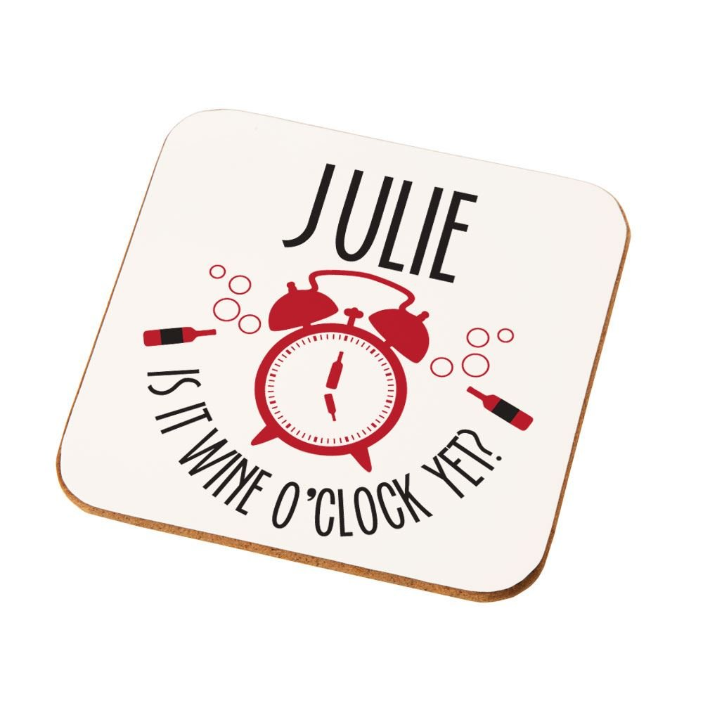 Personalised Is It Wine OClock Drinks Coaster Themed Gifts For Her Quirky Birthday Ideas Amazoncouk Kitchen Home
