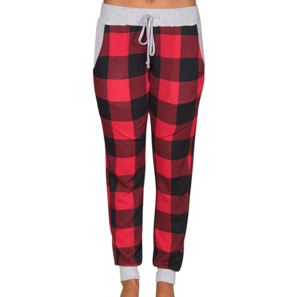 Minisoya Women Pencil Casual Drawstring Plaid Yoga Workout Pants High Waist Lattice Lounge Trousers Party Pants