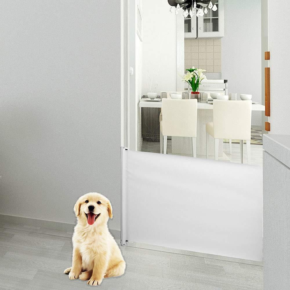 Melko ausziehbares Tü rschutzgitter fü r Haustiere, 82 cm hoch, 115cm lang, weiß , ideales Schutzgitter