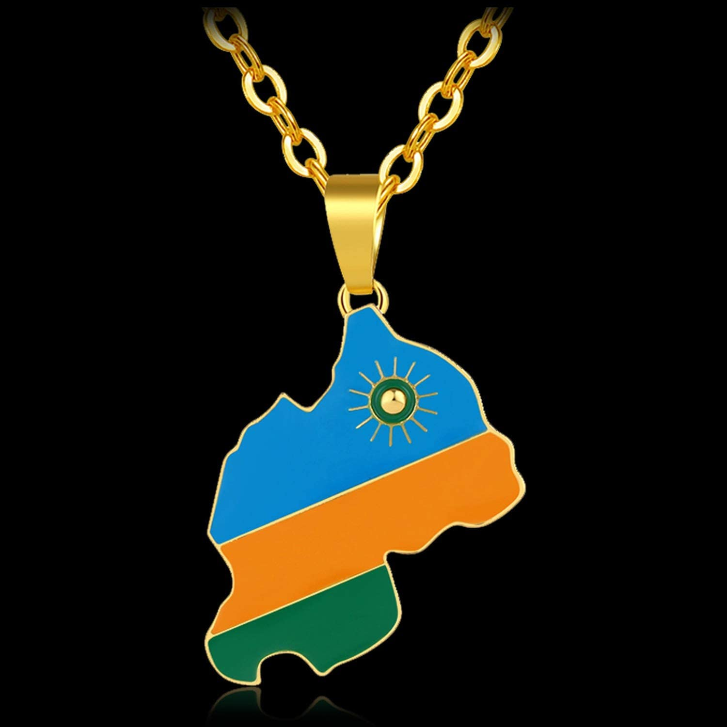 Sevennights Rwanda Country Map and Flag Pendant Necklace for Women//Men Gold Color Rwandans Jewelry African Country Bijoux Femme