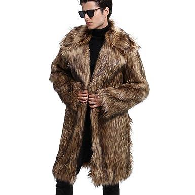 MEIbax Moda Abrigo de Piel Chaquetas para Hombres cálido Cardigan Grueso de Piel sintética con Cuello