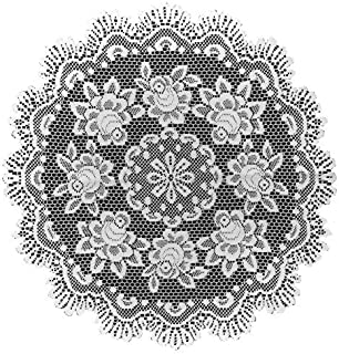product image for Heritage Lace Rose 30-Inch Round Table Topper, Off White