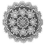 Heritage Lace Rose 30-Inch Round Table Topper, Off White