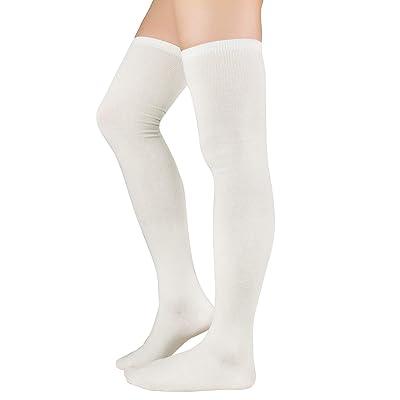 ZANDO Womens Thigh High Socks Casual Thin Tube Stockings for Women over Knee Socks 1 Pack White One Size: Clothing