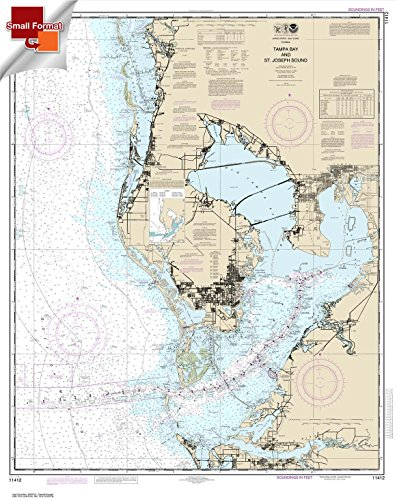 Paradise Cay Publications NOAA Chart 11412: Tampa Bay and St. Joseph Sound 21.00 x 26.42 (SMALL FORMAT WATERPROOF)