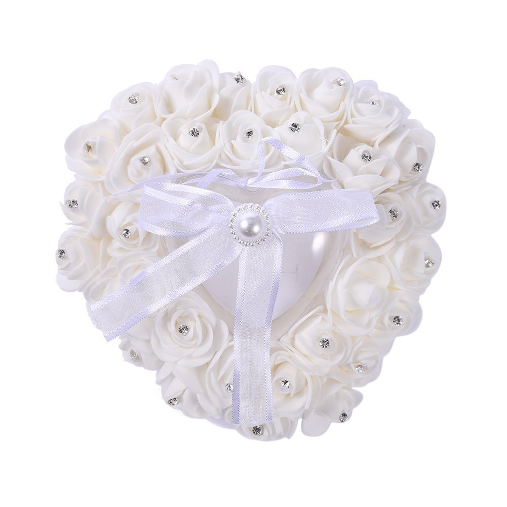 1xToruiwa Ring Case Rose Flower Heart Shape Ring Box Romantic Ring Pillow Cushion Holder for Wedding Decoration Valentine's Day Gift (Beige)