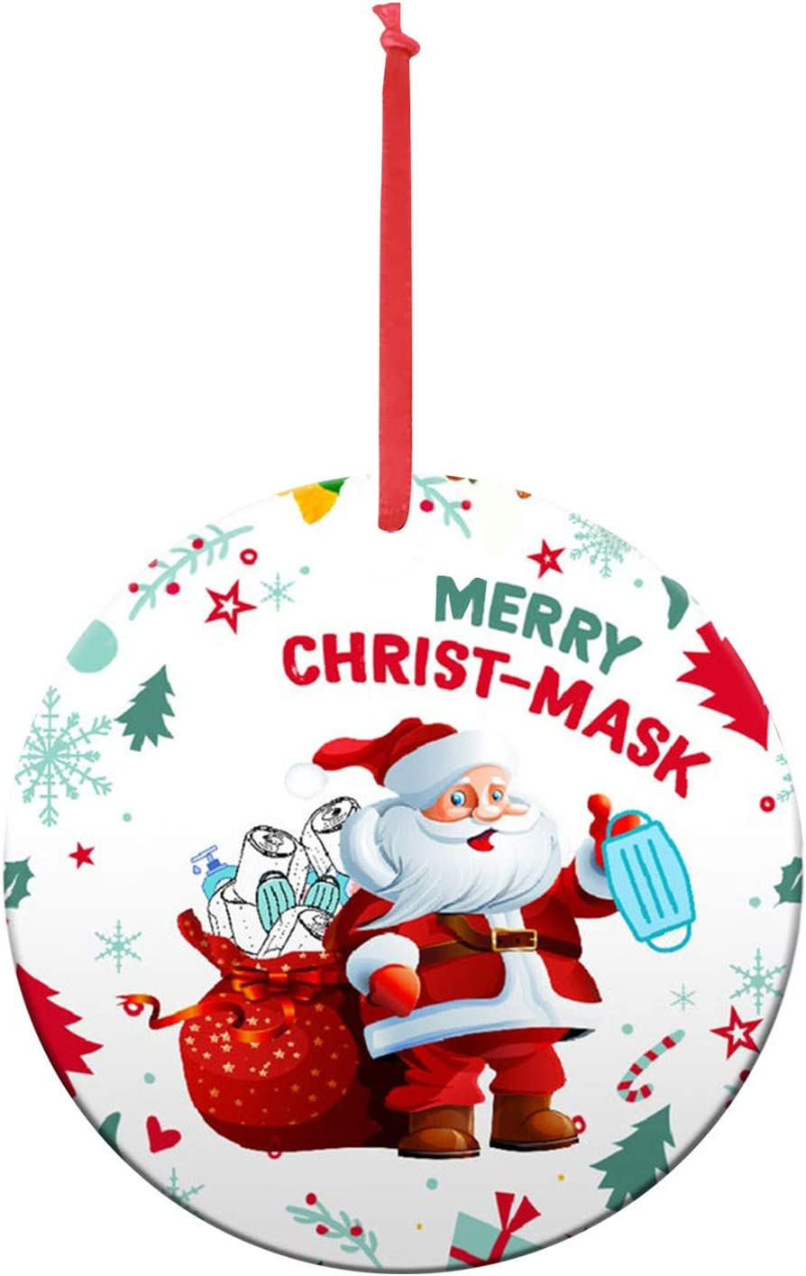 Shan-S Christmas Ornaments Personalized Wood Cute Santa Clause Wearing Mask Handmade Toilet Paper Ornament 2020 Xmas Tree Decoration Holiday Present Creative New Year Gift for Home Decor