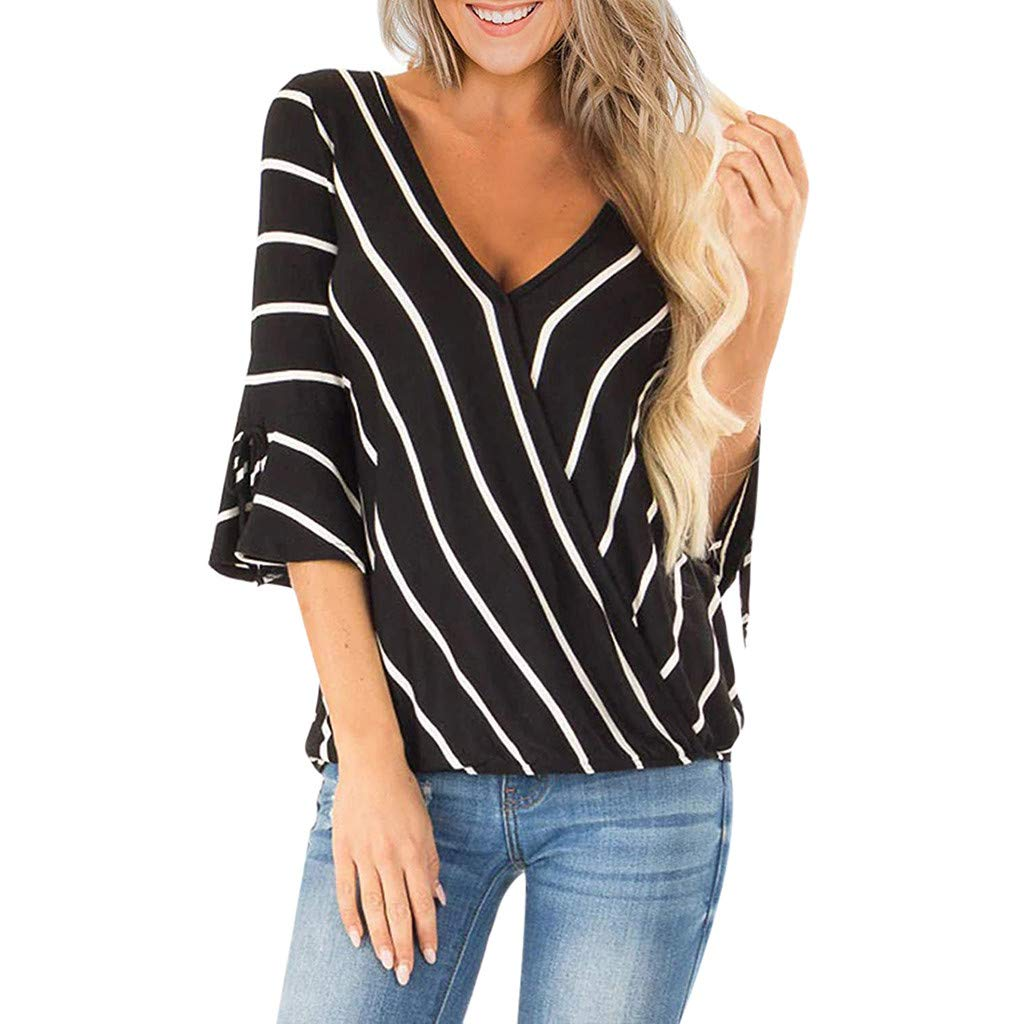 LONGDAY Women Casual T-Shirt Wrap V-Neck Flare Sleeve Shirt Summer Loose Blouse Striped Top Tunic Ladies Pullover Basic Black