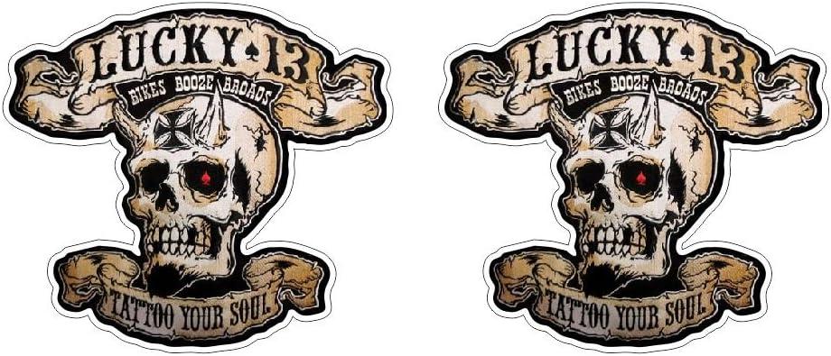 Retro Lucky Skull Tattoo Bike Soul Booze Iron Cross Aufkleber Sticker Gratis Schlüsselringanhänger Aus Kokosnuss Schale Oldschool Rockabilly 1 Mc Outlaw Bumper Bike Helm Bobber Racing Tuning Auto