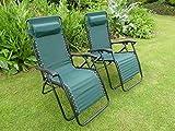 SET OF 2 Green Garden Sun Lounger Relaxer Recliner Garden Chairs Weatherproof Textoline Folding And Multi Position With A Headrest