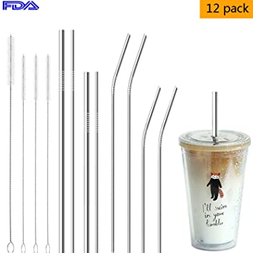 Sporting 8pcs Straws Colorful 304 Stainless Steel Reusable Drinking Straw High Quality Bent Metal Straw Cleaner Brush Making Things Convenient For Customers Home