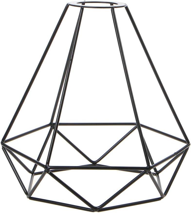 Get Fresh - Pantalla de lámpara colgante, decoración de alambre metálico, estilo jaula retro Birdcage techo de metal Easy Fit para la casa Monolinea de hilo único Diamante de hierro forjado negro
