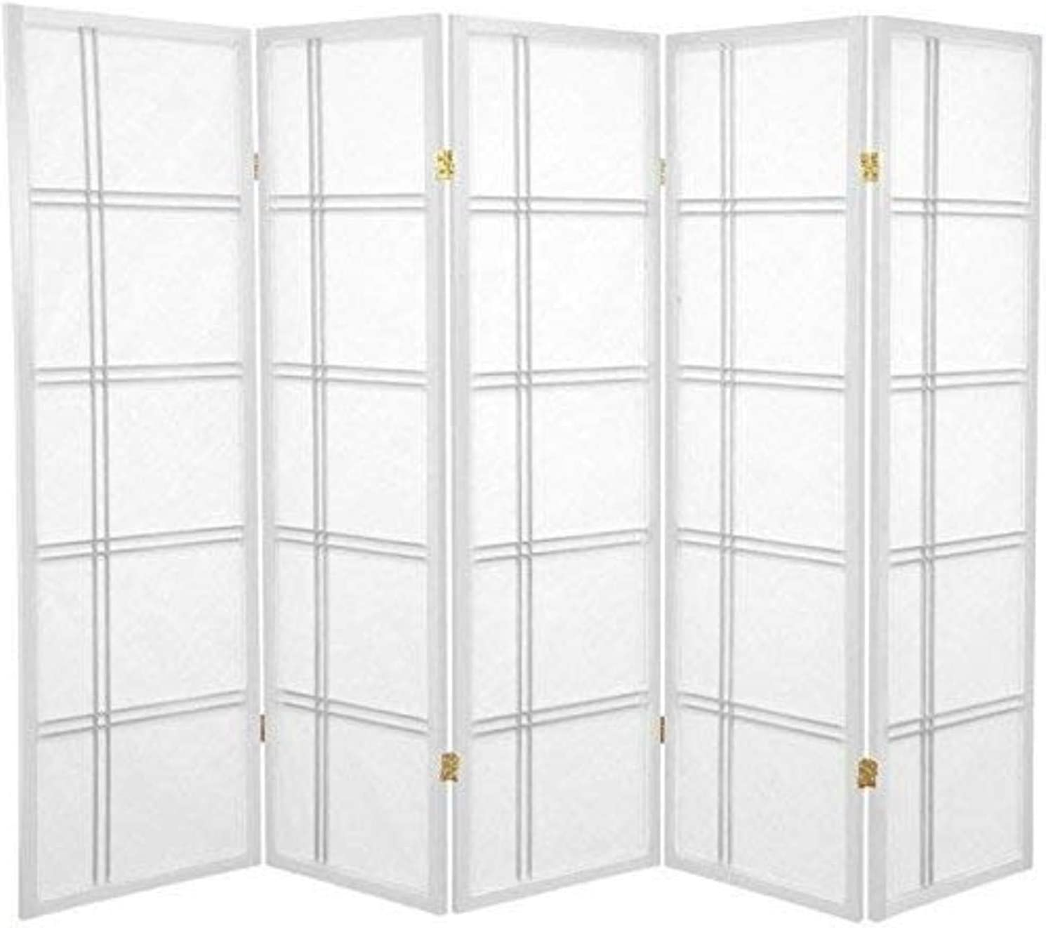 Oriental Furniture 5 ft. Tall Double Cross Shoji Screen - White - 5 Panels