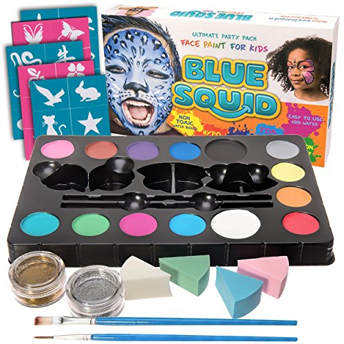 Face Paint Kit for Kids - 52 Pieces, 14 Colors, 2 Glitters, 30 Stencils, 4 Makeup Sponges, Best Quality Face Paint Party Supplies - Safe Facepainting for Sensitive Skin - (Halloween Face Painted Skulls)