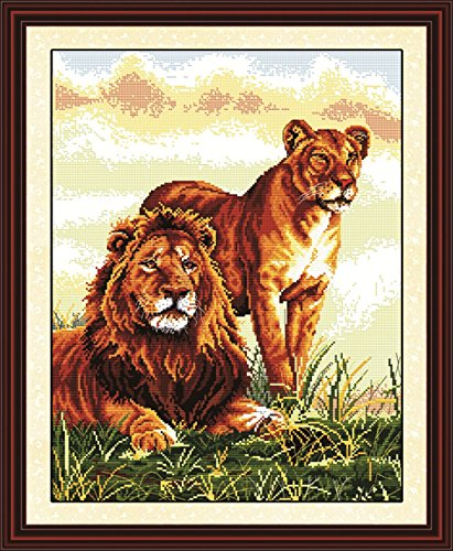 YEESAM ART New Cross Stitch Kits Advanced Patterns for Beginners Kids Adults - Accompanying Lions 11 CT Stamped 52x65 cm - DIY Needlework Wedding Christmas Gifts