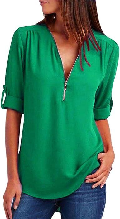 Blusas Mujer Otoño Invierno 2019 Camisetas De Gasa con Cremallera con Cuello en V Casual Camisas Chic Tops: Amazon.es: Ropa y accesorios