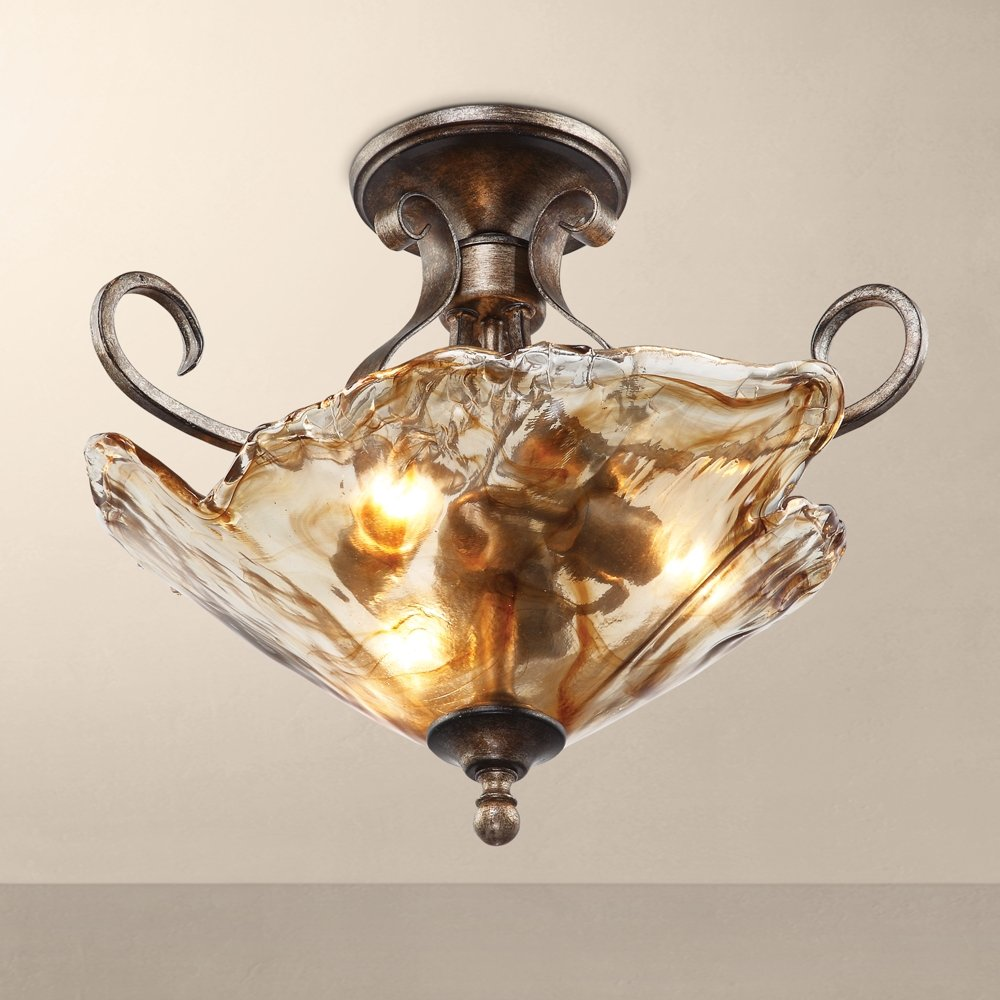 Amber scroll art glass 20 14 wide ceiling light fixture amber scroll art glass 20 14 wide ceiling light fixture ceiling pendant fixtures amazon arubaitofo Image collections