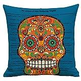 Pgojuni Vintage Skull Pillowcase Decorative Flax Throw Pillow Cover Cushion Cover Pillow Case Sofa/Couch 1pc (45X45 cm) (B)