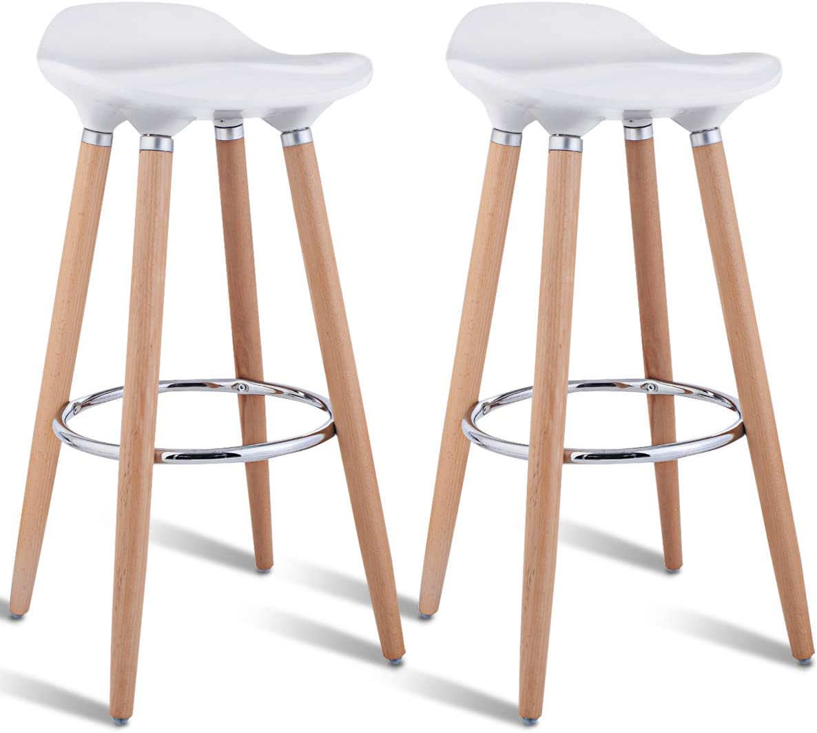 COSTWAY Barstools Set of 2, Modern Comfortable Armless Bar Stool, Counter Height Bistro Pub Side Stools, Backless Barstools with Wooden Legs, for Home Kitchen White