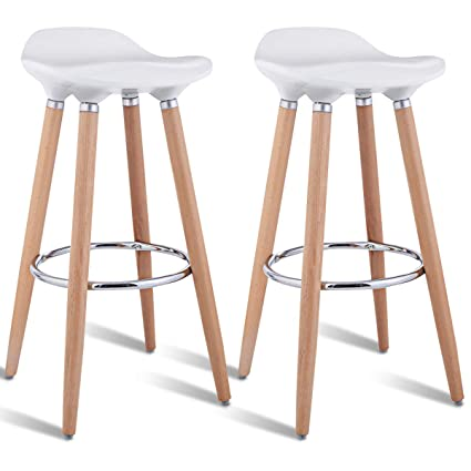 3b9686454df Amazon.com  COSTWAY Barstools Modern Comfortable Armless Counter Height  Bistro Pub Side Chairs Backless Stools with Wooden Legs for Home   Kitchen  Set of 2 ...