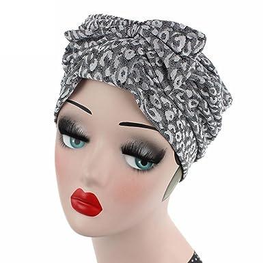96562882ba4 Women Bow Cancer Chemo Hat Beanie Scarf Turban Head Wrap Cap Gray   Amazon.co.uk  Clothing
