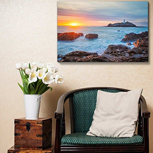 The Sun Setting on The Horizion with Lighthouse Home Deoration Wall Decor