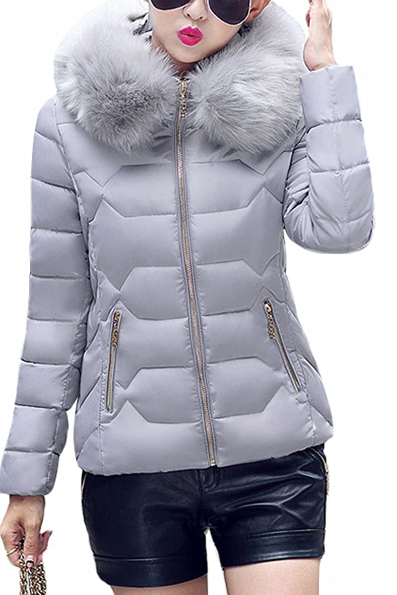 YMING Womens Down Cotton Winter Jacket Short Slim Fur Collar Coat