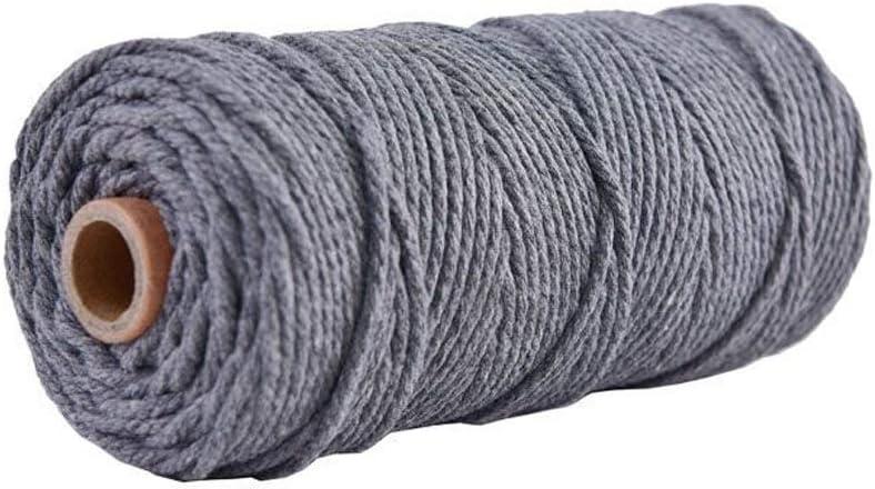 No nulo Tama/ño libre cuerda trenzada suave sin manchas para manualidades decoraci/ón DIY Amarillo YYWJ Cuerda de algod/ón macram/é 3 mm x 100 m 4 hebras