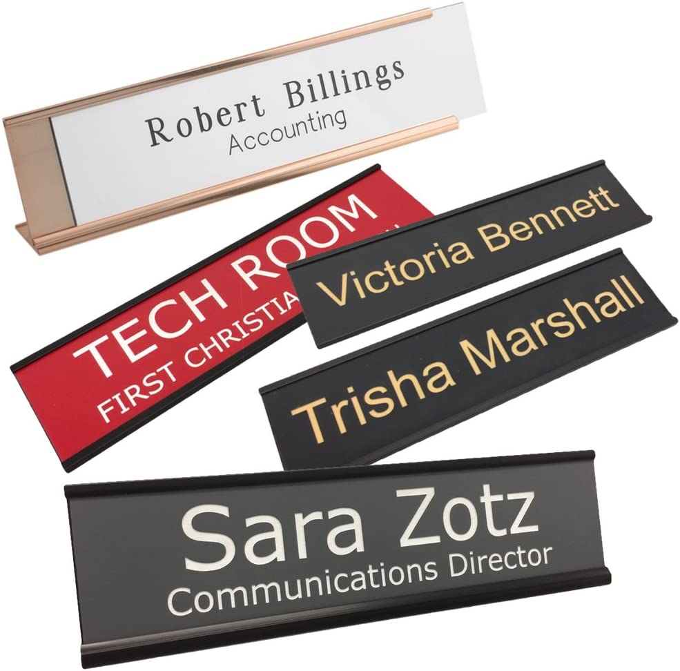 Personalized Name Plate with Wall or Office Desk Holder - 2x8 - Customized