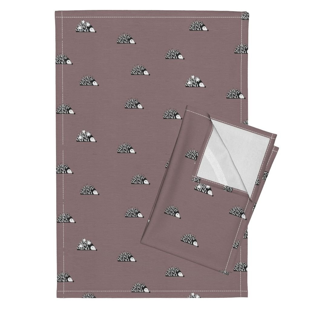 Roostery Woods Forrest Animals Hedgehog Mauve Baby Girl Woodland Animals Sunny Afternoon Dusty Purple Tea Towels Hedgehog - Woodland Black and by Sunny Afternoon Set of 2 Linen Cotton Tea Towels