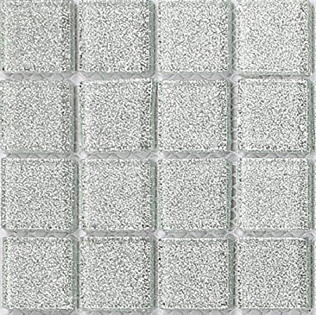 10x10cm Sample Shades of Iridescent White Vitreous Glass Mosaic Tiles Sheet MT0131