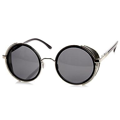 d510b35d436 zeroUV - Studio Cover Metal Frame Side Shield Round Sunglasses (Black-Silver )