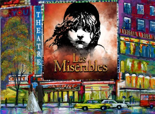 LES MISERABLES. Times Square. Broadway Musical Show. New York - Art Painting On Canvas /giclee 16x20