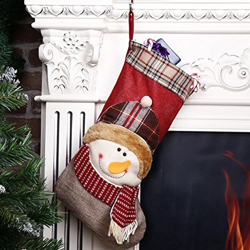 Christmas Stocking 3D Snowman Plush Classic Traditional Plaid Adorable Cute Holiday Decoration Ornament Decorate Your Home for Party Office Xmas Tree 18 (Decorate Office For Christmas)
