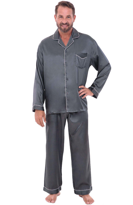 Alexander Del Rossa Mens Satin Pajamas, Long Button-Down Pj Set, XL Steel Grey (A0752STLXL) by Alexander Del Rossa