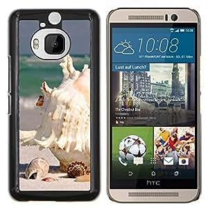 KLONGSHOP // Cubierta de piel con cierre a presión Shell trasero duro de goma Protección Caso - Playa Blanca Seashell - HTC One M9Plus M9+ M9 Plus //