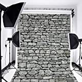 Laeacco Customizable 5x7ft Vinyl Photography Backdrop Rock Stone Brick Wall Theme Photo Shooting Home Decor Party Festival Scene 1.5(w) x2.2(h) m Background Photo Studio Props