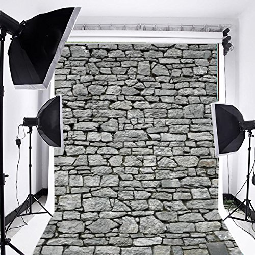 Laeacco Customizable 5x7ft Vinyl Photography Backdrop Rock Stone Brick Wall Theme Photo Shooting Home Decor Party Festival Scene 1.5(w) x2.2(h) m Background Photo Studio Props -