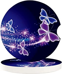 Car Drinks Coasters Set of 4 Pack Butterfly Absorbent Ceramic Stone Blue Purple Coaster with A Finger Notch for Easy Removal from Auto Cupholder