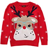ACEFAST INC Baby Girls Christmas Knit Sweater Warm Pullover Elk Snowflowers Xmas Sweatershirt Round Neck Tops