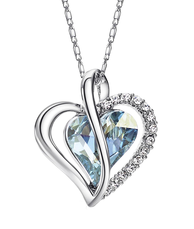 NEOGLORY Collar de Corazón Amor Love Heart con Cristales SWAROVSKI AZUL Joya